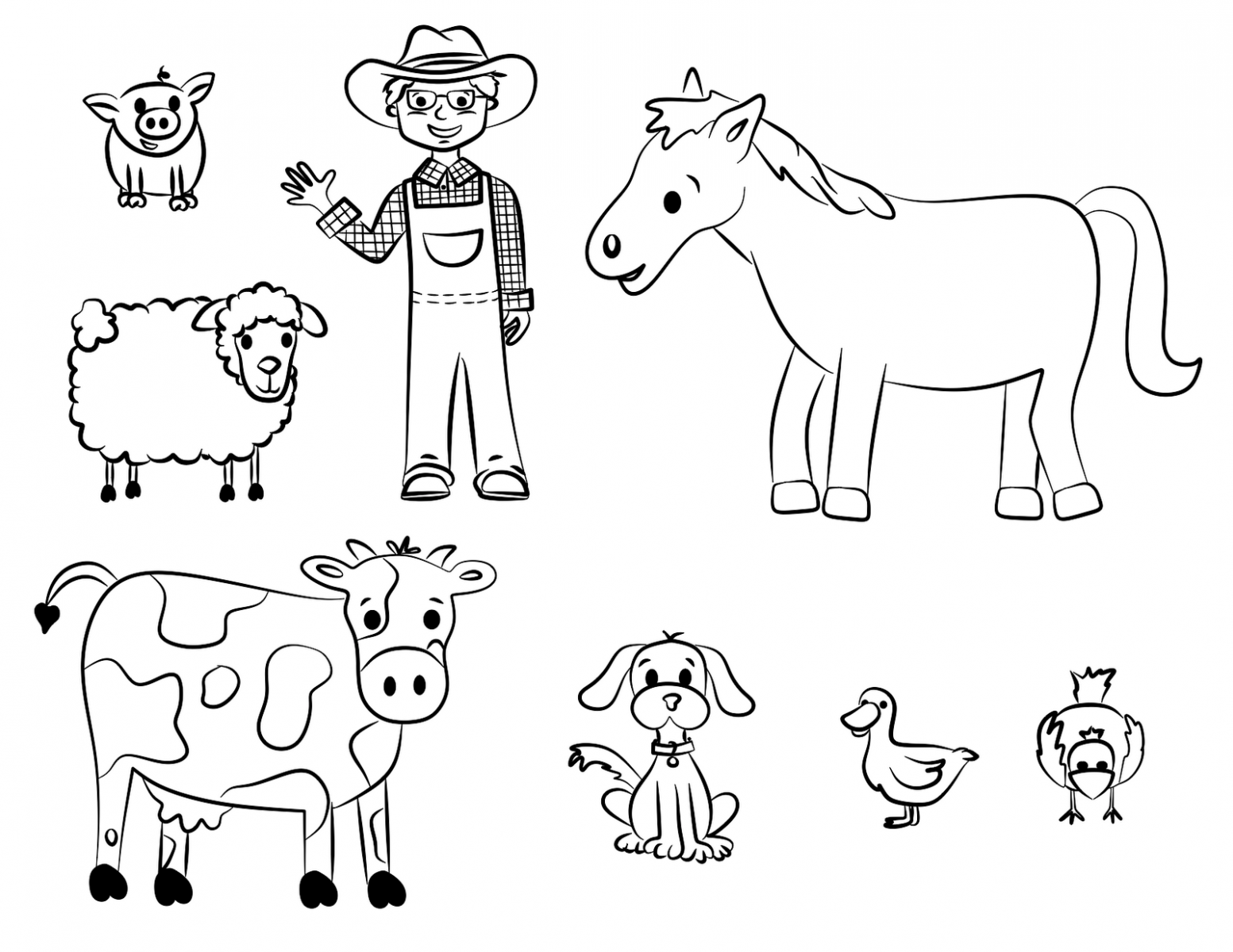 Old MacDonald Farm Animals Coloring Pages