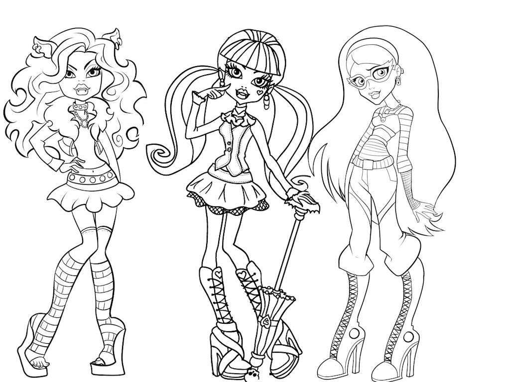 Monster High Dolls Coloring Pages Printable